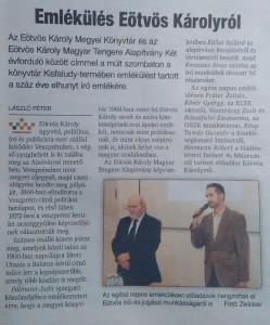 A helyi hetilap cikke az emlékülésről.